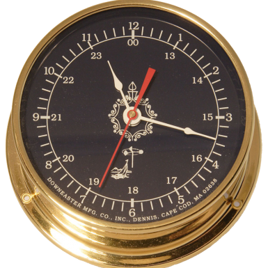 Downeaster Clock, Blue Face, Nickel Case